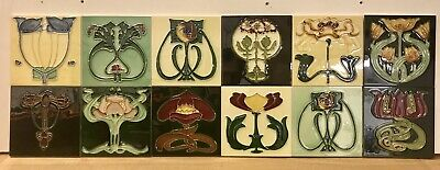 Set Of 12 Individual Art Nouveau Tubelined Majolica Fireplace Splashback Tiles