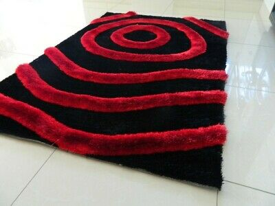 **Clearance** Red Black Thick Soft Shaggy Pile Modern Area Rug Mat Carpet Sale