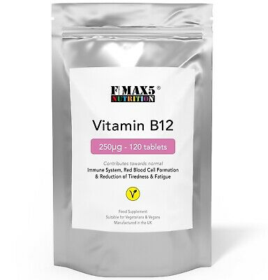 Vitamin B12 250µg x 120 Tablets - Reduces Tiredness, Fatigue & IMMUNE SUPPORT