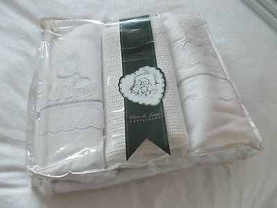 Claire de Lune 3 piece Cot Bale-White with Bunny Motif * NEW** Reduced