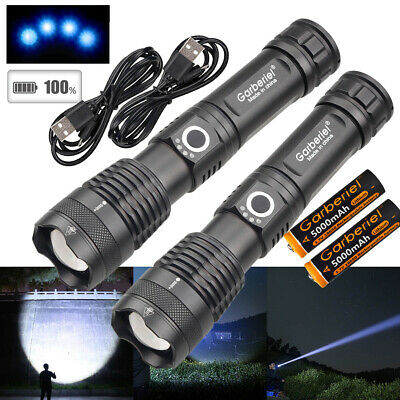 2Pcs XHP50 350000lm Zoomable 5 Modes USB Rechargeable 18650 Flashlight Torch USA