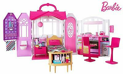 Barbie Glam Getaway House Dollhouse Playhouse 20PC Furniture Set Cottage Folding