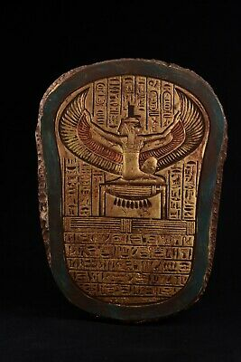 Ancient Egyptian Wall Plaque Isis Goddess Open Wings / Winged Maat Goddess 13.2""