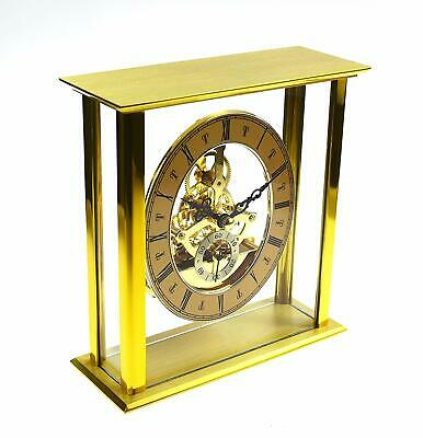 Brass Finish Quality Skeleton Quartz Carriage Mantel Desk Clock W2615