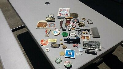 Vintage Junk Drawer Tokens Watches Medal Tobacco Pouches Buttons Knife