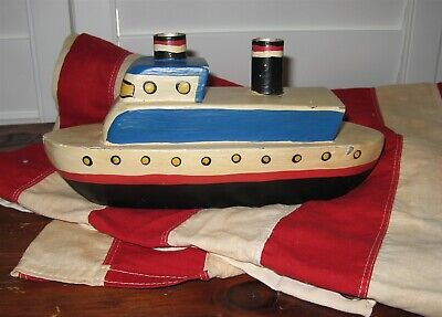 VINTAGE HAND MADE FOLK ART TOY WOODEN BOAT Red White Blue