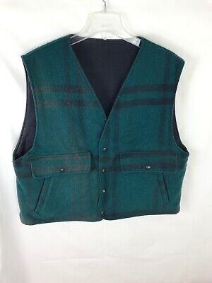Vintage Woolrich Men's Wool Vest Green Plaid Wool Hunting Made in USA Size XL