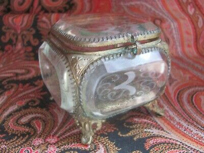 Antique~Victorian Era~French Jewelry Casket~Beveled & Etched Glass~Brass Footed