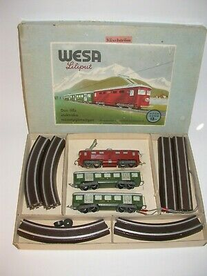 Wesa in original box from the 40s, with working locomotives
