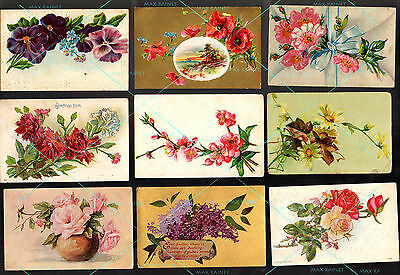 18 POSTCARD Antique Vintage 1909-1912 w 1c stamps Flower Bouquets Greetings rose