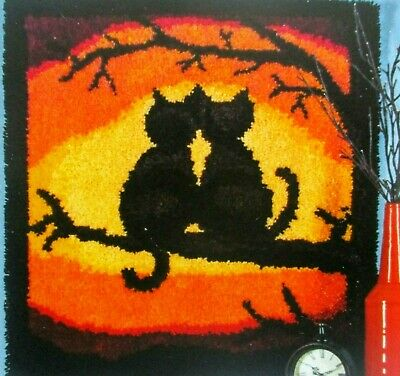 "Latch hook rug kit  Cats  "" PURR-FECT SUNSET"" A STRIKING SCENIC VIEW"