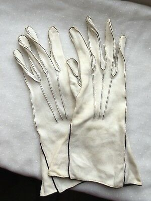 Dents Simplex Vintage Ladies Ivory Gloves - Black Stitching Detail Size 6 3/4