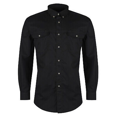 Mens Long Sleeve Shirt Button Up Smart Casual Formal Plain Collared Dress Top