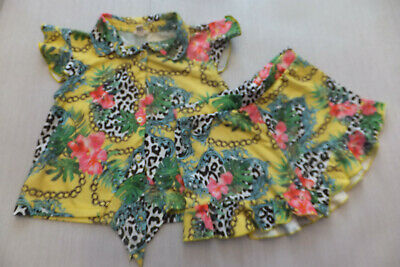 River Island Girls Tropical Top & Shorts Set Great Cond Age 3-4 Years