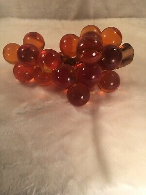 Vintage Acrylic Lucite Amber Grape Cluster Decor Driftwood large