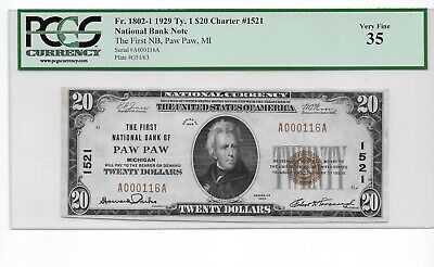 CH #1521 The First National Bank of Paw Paw Michigan PCGS VF35