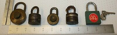 #1 Lot of 5 Vintage Padlocks - w/out and with Keys