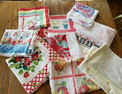 Lot Of 11 Vintage Tablecloths CUTTERS