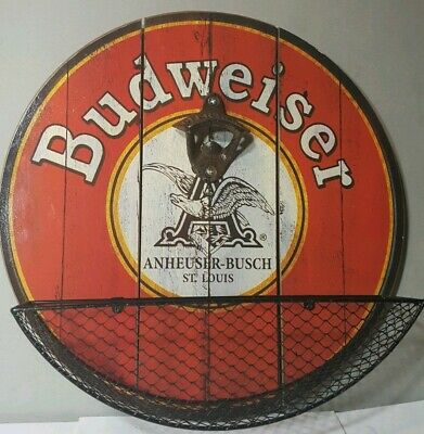 Budweiser Beer Wall Mounted Bottle Opener And Cap Catcher Bar Man Cave Decor