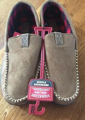 Signature by Levi Strauss Men's Venetian Moccasin Slip-on Slippers 13-14 Taupe