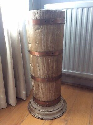 Vintage Style Wood Umbrella Stand Copper Banding