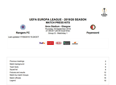 Rangers Feyenoord  Official Uefa Issued Group G Europa League 2019 Presskit