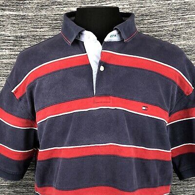 Tommy Hilfiger Mens XL Short Sleeve Polo Shirt Navy Red White Striped