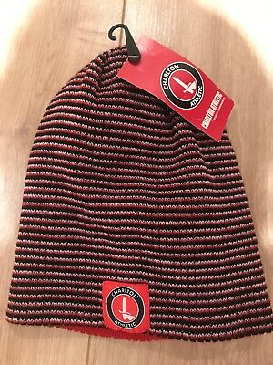 Charlton Beanie Winter Hat Black Red Logo Reversible New Tags BNWT Xmas Present