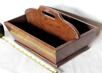 Antique knife tray wooden mahogany cutlery kitchen primitive box tote 19th c.