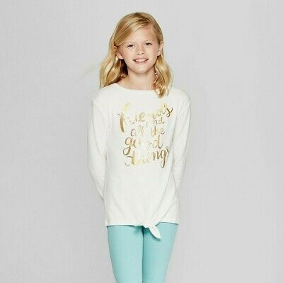Cat & Jack Girls' Long Sleeve Shirt Good Things Cozy Pullover – Cream, XLarge