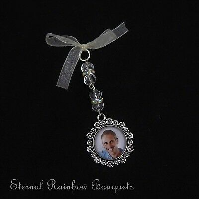 Bouquet Memory Charm - Round Flower Frame - Bridal photo memorial pin - gift