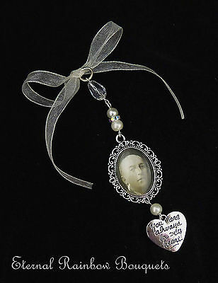 Bouquet Memory Charm - photo buttonhole charm - Bridal Flowers-memorial pin-gift