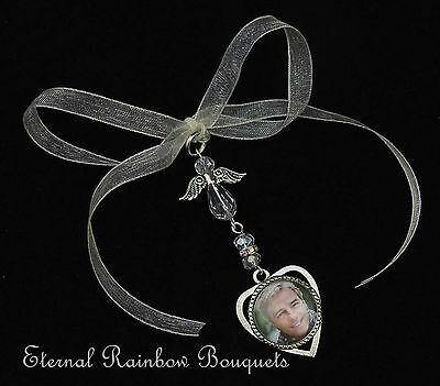 Heart Photo Frame Buttonhole Memory Charm - Angel Wings Groom memorial pin -gift