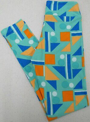 LuLaRoe TWEEN Leggings Shapes Geometric Green Blue Orange Kids Girls New NWOT