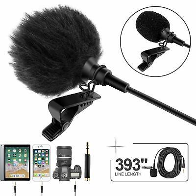 """Professional Grade Lavalier Lapel Microphone  Omnidirectional Mic 393"""" with Eas"""