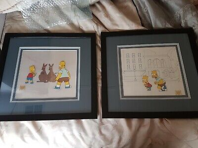 2 Simpson's animation cels matching frames