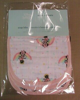 New Aden + Anais Essentials Snap Bibs 3pk - Minnie Mouse Rainbows