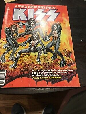 KISS Marvel Comics Super Special (#1 1977) Comic Book Printed in Real KISS Blood