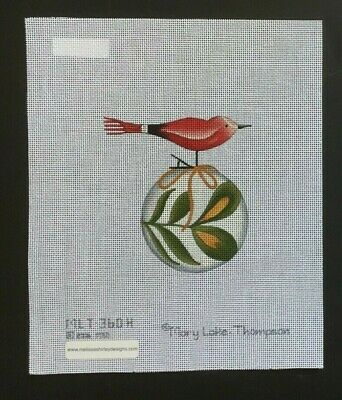 Mary Lake Thompson Hand-painted Needlepoint Canvas Red Bird on Ornament