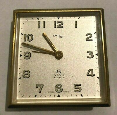 Vintage IMHOF Swiss 8 Day 15 Jewel Gold tone Travel Wind-up Alarm Clock