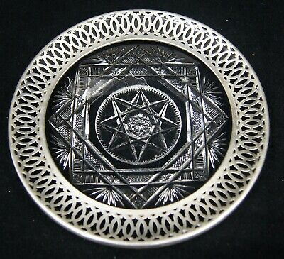 """Vintage Watson Etched Crystal Sterling Silver Rim Plate 6"""" Cheese Sandwich Dish"""