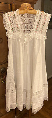 Womens Handmade Cotton Dress w Pink Flowers, Lace, Pintuck Gown. Size L/XL