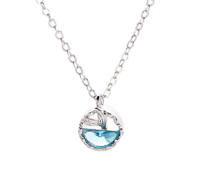 Sterling Silver Round Pendant Necklace - 925 Real Silver Ocean Necklace