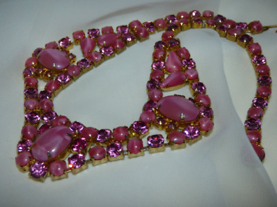 1940s Pink Austrian Crystal Satin Frosted Art Glass Festoon Gold Plated Choker