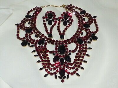 1960s Czechoslovakian STAMPED BIJOUX M.G. Exquisite Ruby Red Glass Necklace Set