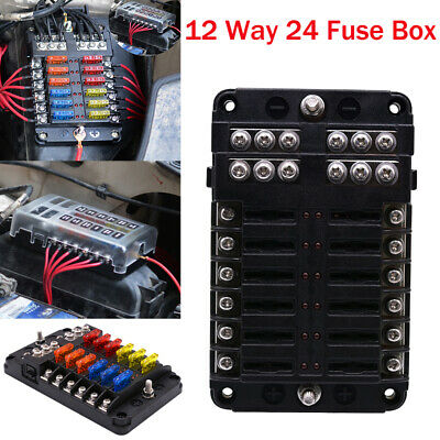 12 WAY 24 Fuse Box Circuit Standard Blade Block Holder Car ... Dc Fuse Box on