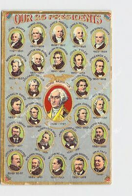 Antique Postcard George Washington Our 26 Presidents Gold Embossed