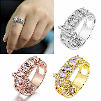 Women Luxury White Cubic Zirconia Filled Wedding Engagement Rings Band Jewelry