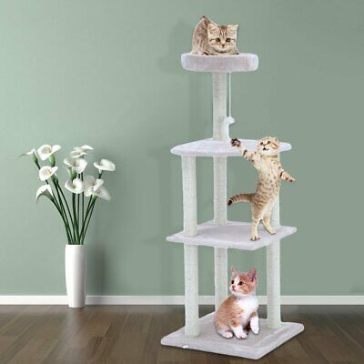"Cat Tree Furniture Kitten House Play Tower Scratcher 51"" Beige Condo Post Bed MX"