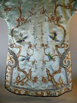 Antique Chinese 19thC Embroidered Jacket Robe Gold Thread Birds & People Export